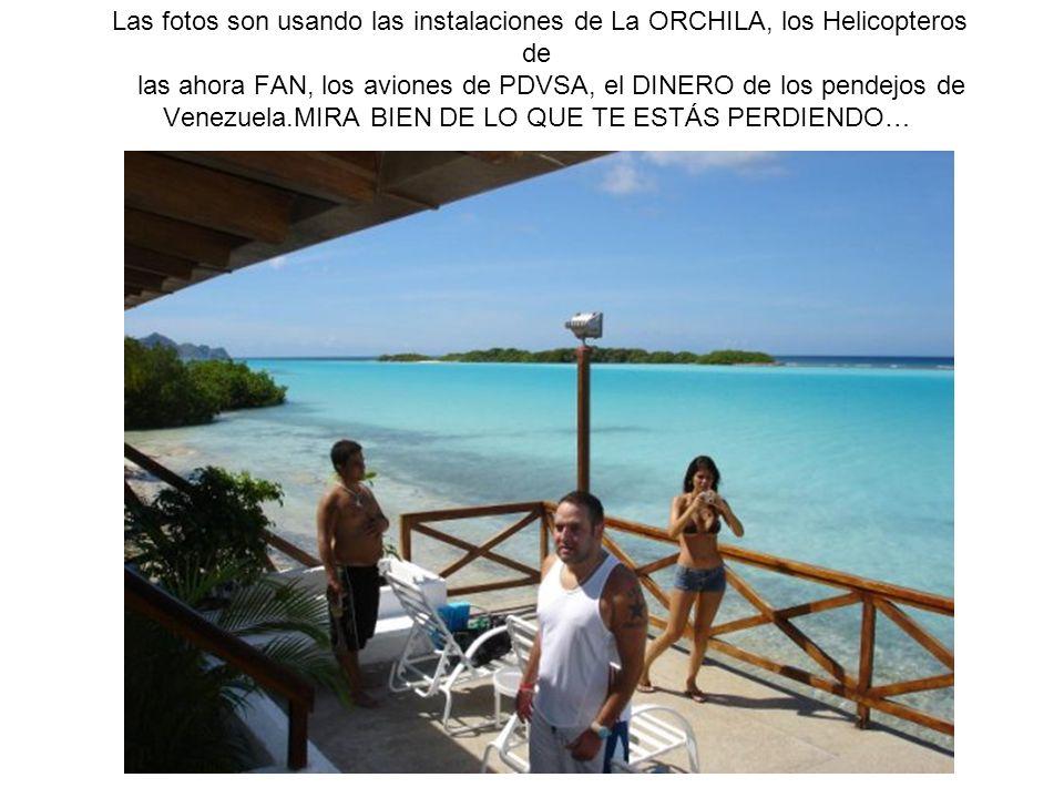 Las fotos son usando las instalaciones de La ORCHILA, los Helicopteros de las ahora FAN, los aviones de PDVSA, el DINERO de los pendejos de Venezuela.