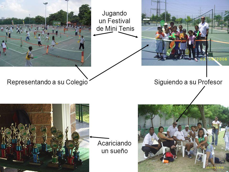 Jugando un Festival de Mini Tenis Representando a su Colegio Siguiendo a su Profesor Acariciando un sueño