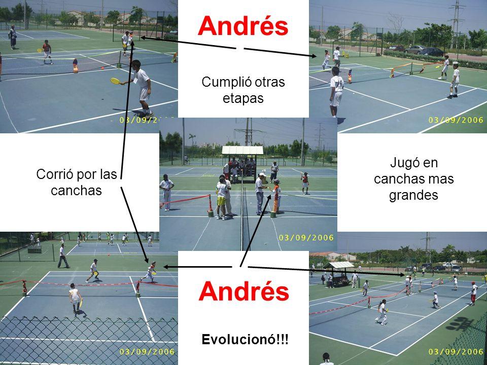 Andrés Cumplió otras etapas Andrés Evolucionó!!! Jugó en canchas mas grandes Corrió por las canchas