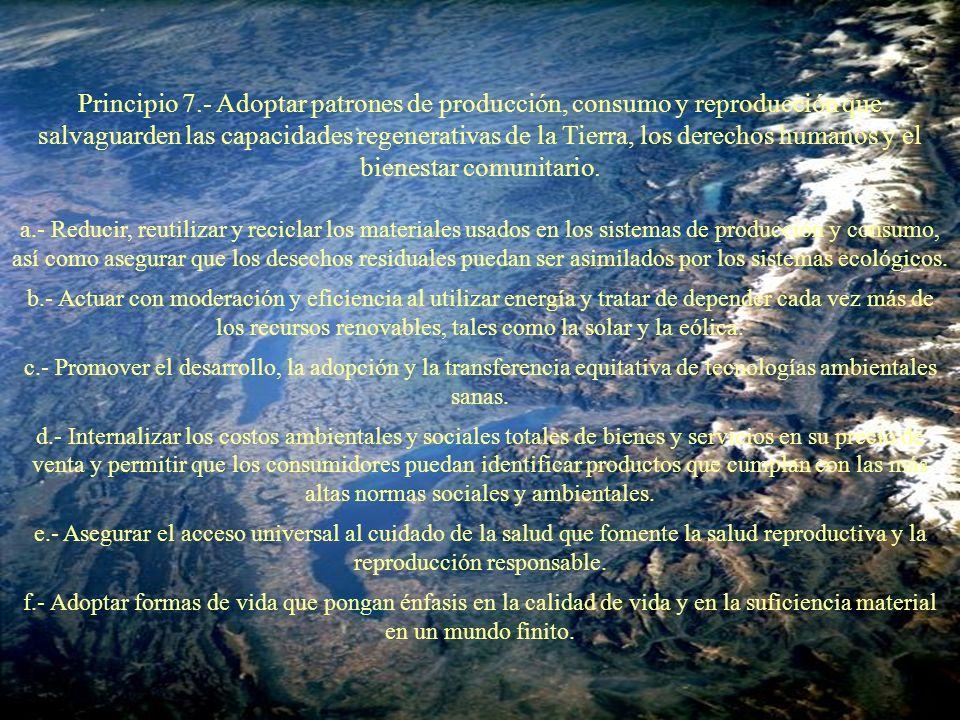 Principio 7.- Adoptar patrones de producción, consumo y reproducción que salvaguarden las capacidades regenerativas de la Tierra, los derechos humanos