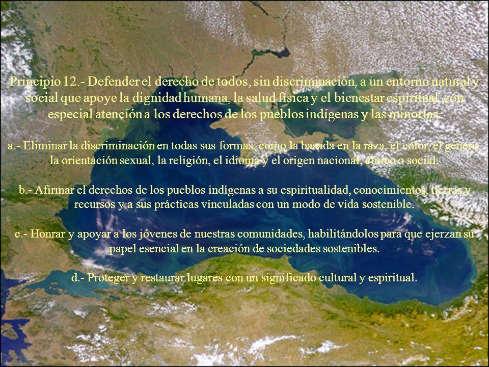 Principio 12.- Defender el derecho de todos, sin discriminación, a un entorno natural y social que apoye la dignidad humana, la salud física y el bien