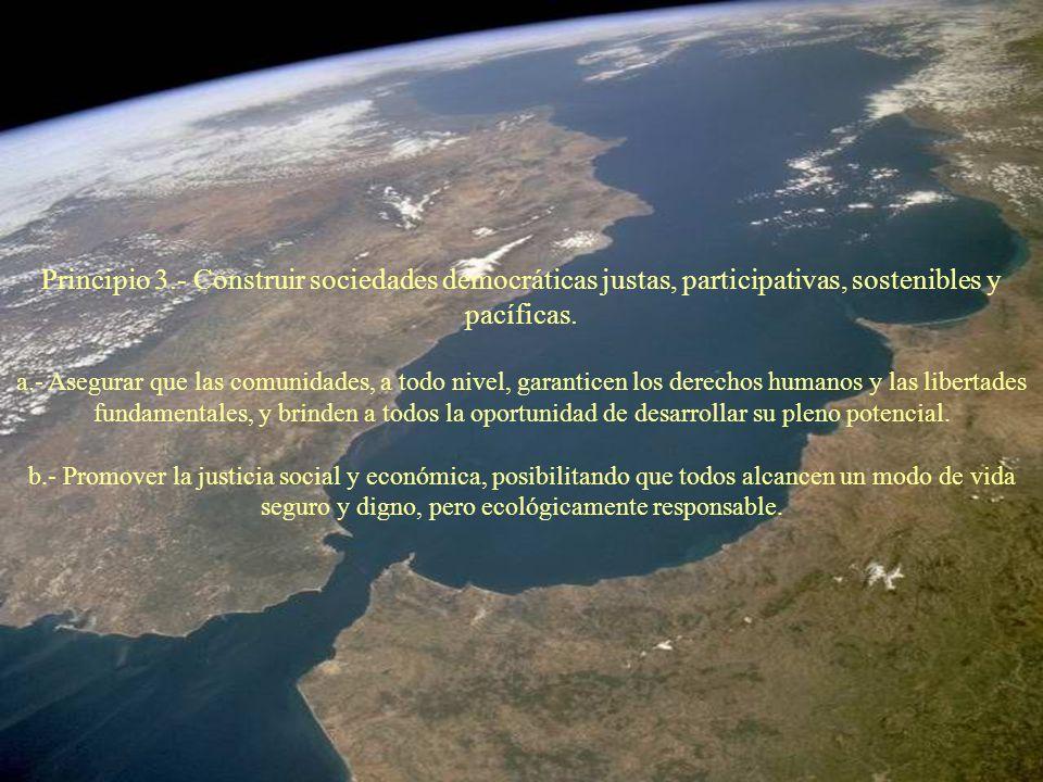Principio 3.- Construir sociedades democráticas justas, participativas, sostenibles y pacíficas. a.- Asegurar que las comunidades, a todo nivel, garan