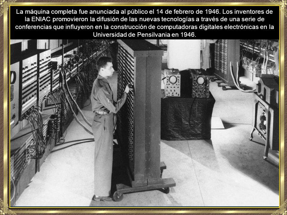 Desarrollada en secreto a partir de 1943, ENIAC fue diseñada para calcular tablas para el laboratorio de investigación balística de Estados Unidos para equipar a la artillería.