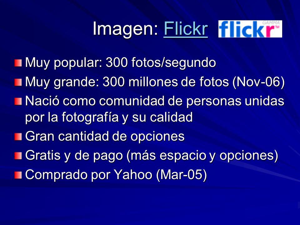 Imagen: Flickr Flickr Muy popular: 300 fotos/segundo Muy grande: 300 millones de fotos (Nov-06) Nació como comunidad de personas unidas por la fotografía y su calidad Gran cantidad de opciones Gratis y de pago (más espacio y opciones) Comprado por Yahoo (Mar-05)