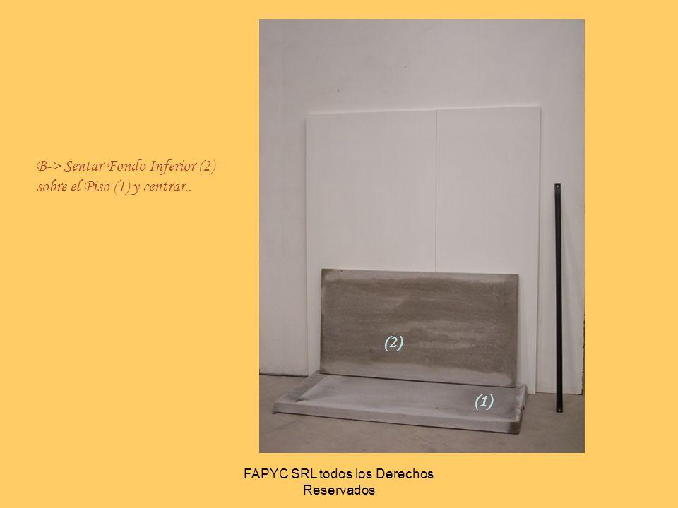 FAPYC SRL todos los Derechos Reservados (1) C> Sentar Laterales Izquierdo y Derecho (3) sobre el Piso (1) y acercar a fondo (2)..