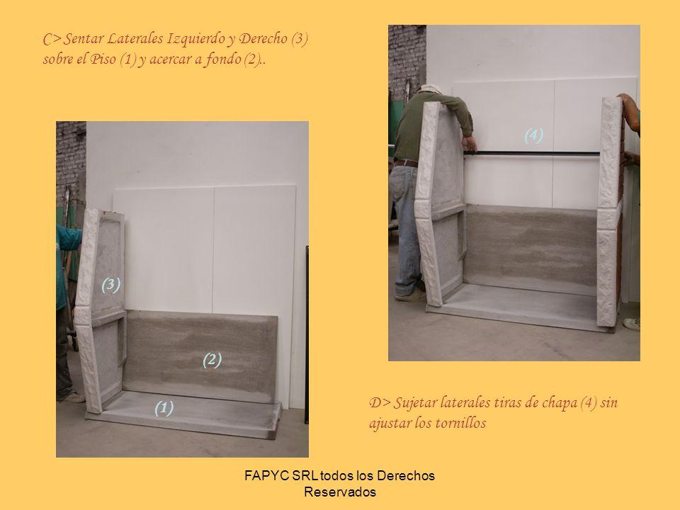 FAPYC SRL todos los Derechos Reservados (5) E> Introduzca el Fogón (5) desde el frente apoyando en el Fondo Inferior ajuste los Laterales hasta que el fogón quede apoyado sobre las ménsulas de los laterales.