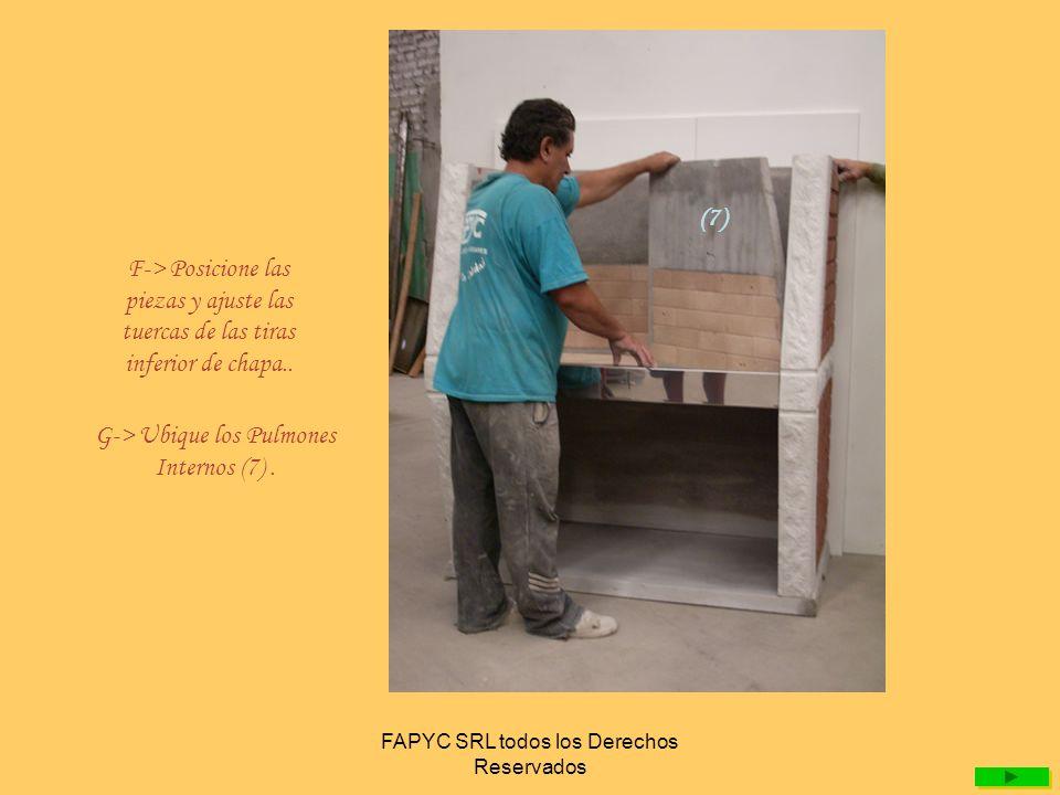 FAPYC SRL todos los Derechos Reservados H-> Coloque el arco armado (8) – arco,manija,bujes,cadenas- y ajuste la tira superior de chapa..