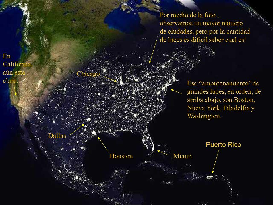 Esta foto nos da una visión de los Estados Unidos al anochecer. Si te sorprendes con la cantidad de ciudades destacadas por las luces, observa la próx