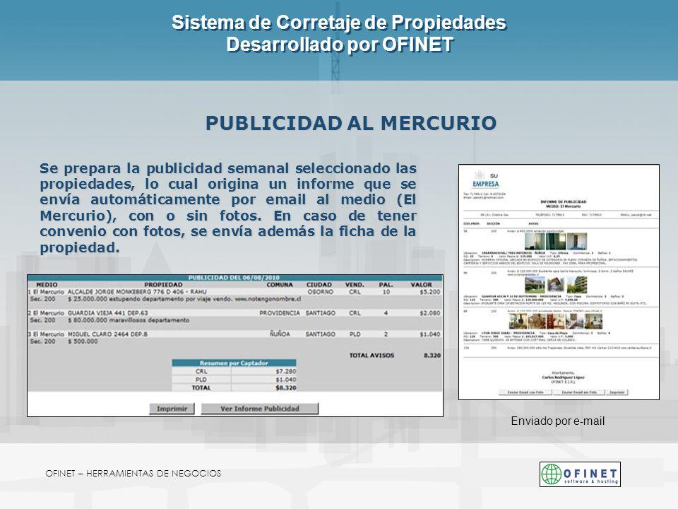 OFINET – HERRAMIENTAS DE NEGOCIOS Sistema de Corretaje de Propiedades Desarrollado por OFINET PUBLICIDAD AL MERCURIO Se prepara la publicidad semanal