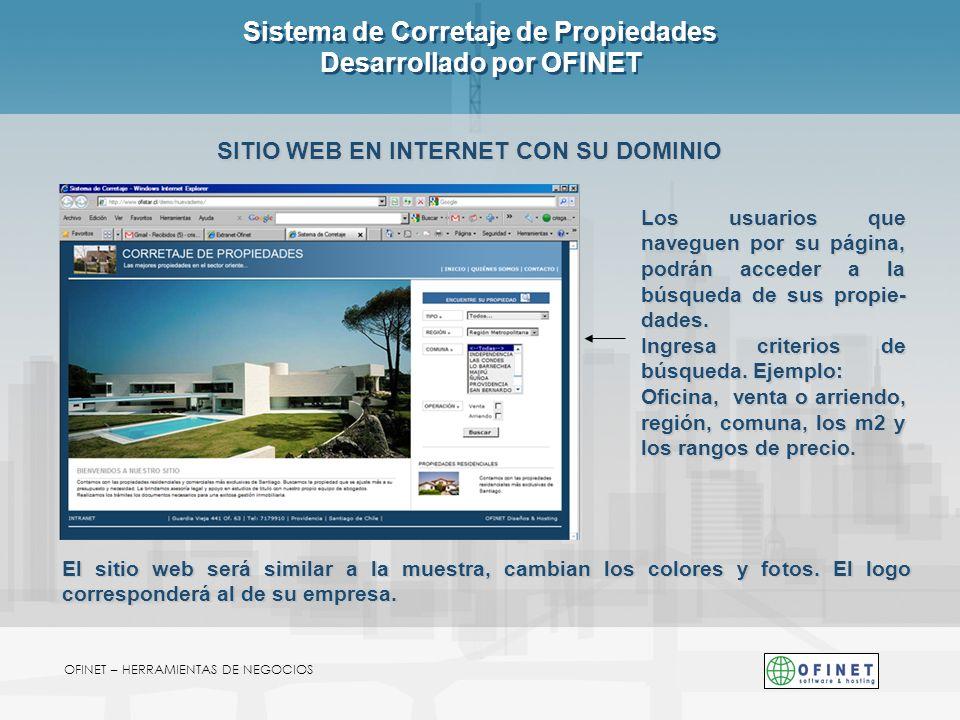 Sistema de Corretaje de Propiedades Desarrollado por OFINET SITIO WEB EN INTERNET CON SU DOMINIO OFINET – HERRAMIENTAS DE NEGOCIOS El sitio web será s