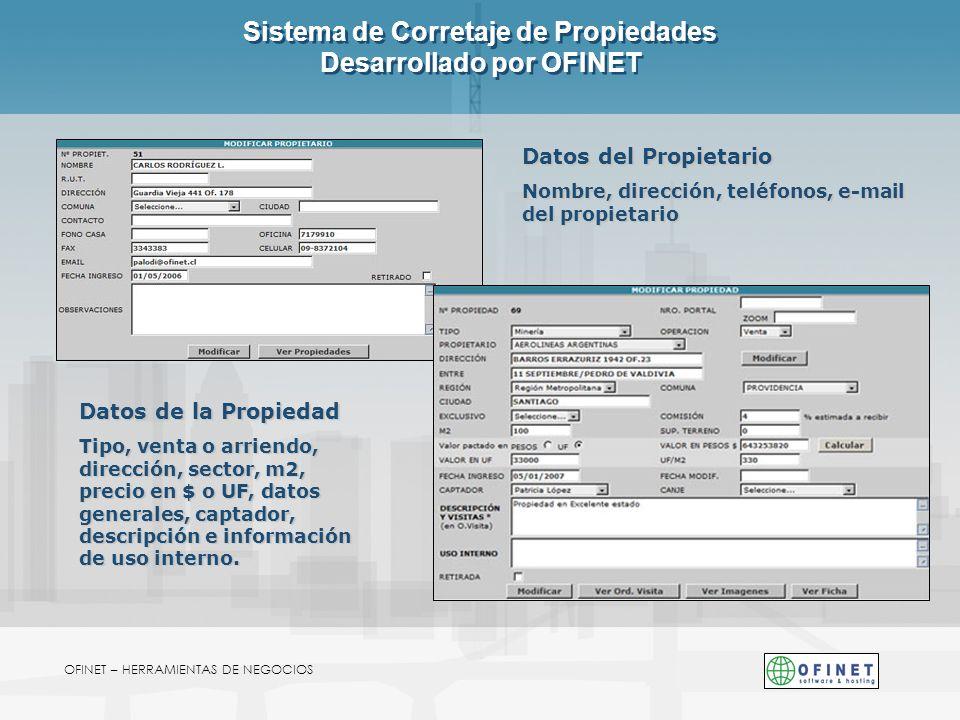 Sistema de Corretaje de Propiedades Desarrollado por OFINET OFINET – HERRAMIENTAS DE NEGOCIOS Datos de la Propiedad Tipo, venta o arriendo, dirección,