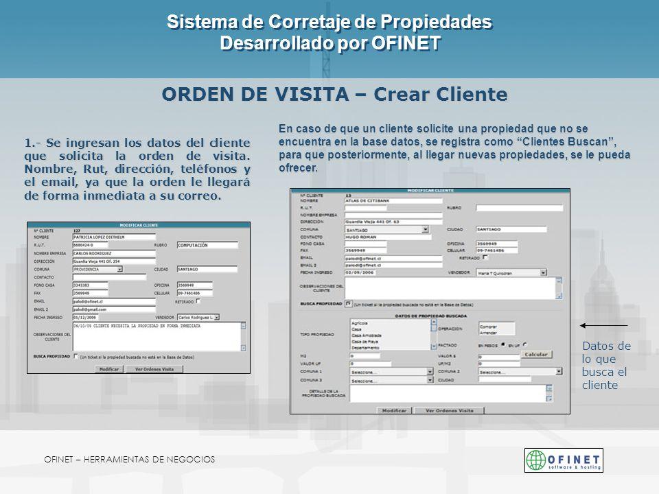 Sistema de Corretaje de Propiedades Desarrollado por OFINET OFINET – HERRAMIENTAS DE NEGOCIOS ORDEN DE VISITA – Crear Cliente 1.- Se ingresan los dato