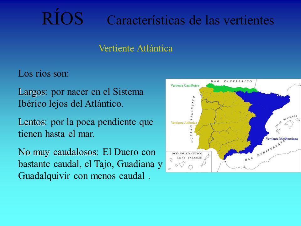 RÍOS Características de las vertientes Vertiente Atlántica Los ríos son: Largos Largos: por nacer en el Sistema Ibérico lejos del Atlántico. Lentos Le