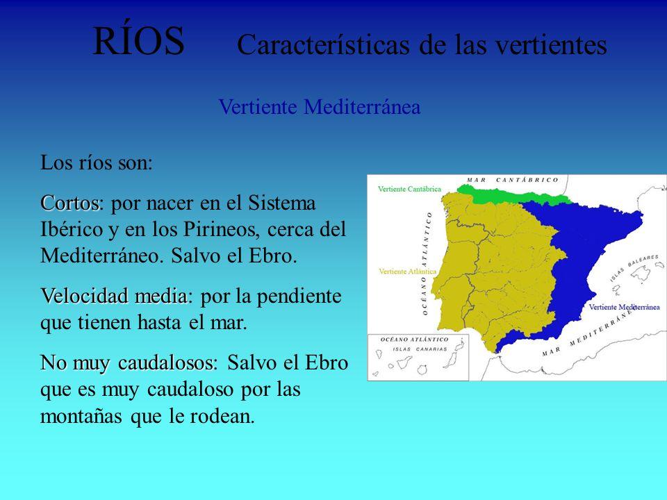 RÍOS Características de las vertientes Vertiente Mediterránea Los ríos son: Cortos Cortos: por nacer en el Sistema Ibérico y en los Pirineos, cerca de