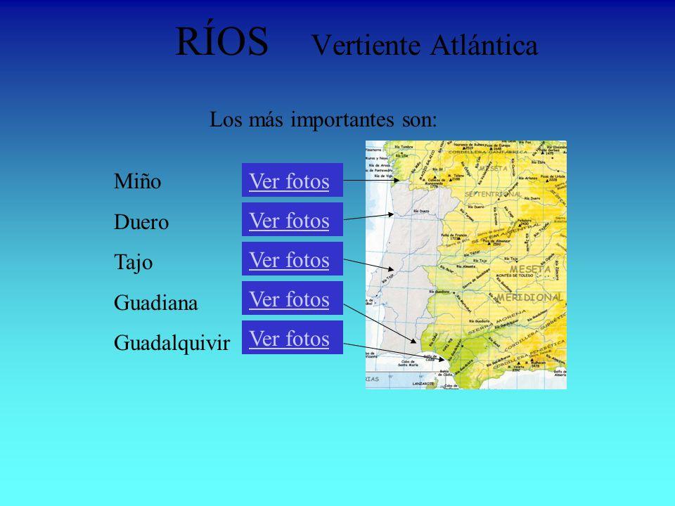 RÍOS Vertiente Atlántica Miño Duero Tajo Guadiana Guadalquivir Ver fotos Los más importantes son: Ver fotos