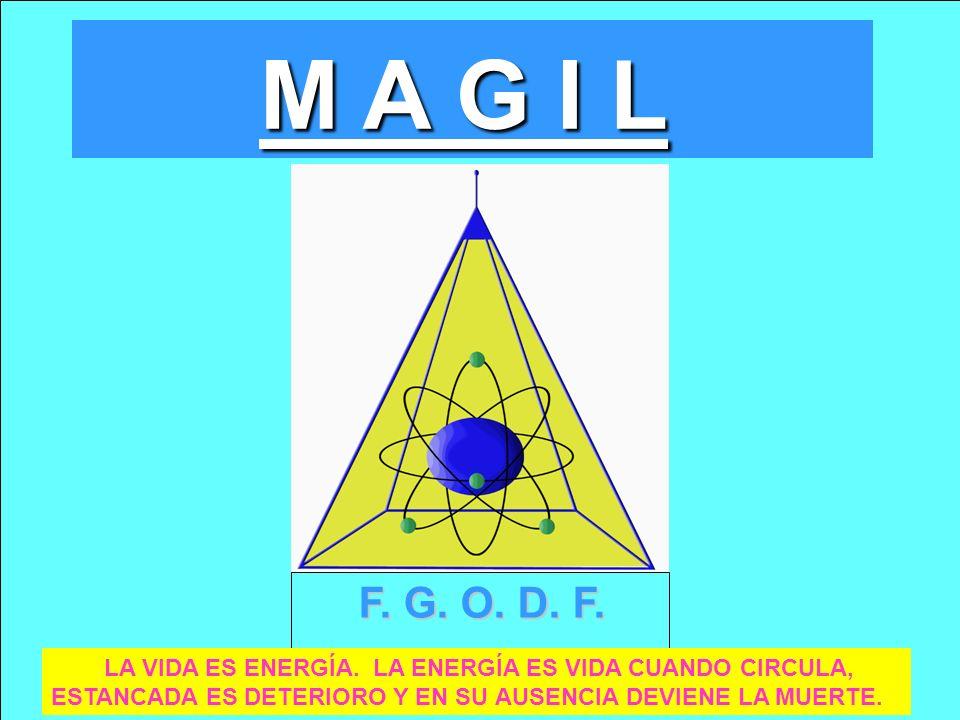 F. G. O. D. F. LA VIDA ES ENERGÍA. LA ENERGÍA ES VIDA CUANDO CIRCULA, ESTANCADA ES DETERIORO Y EN SU AUSENCIA DEVIENE LA MUERTE. M A G I L