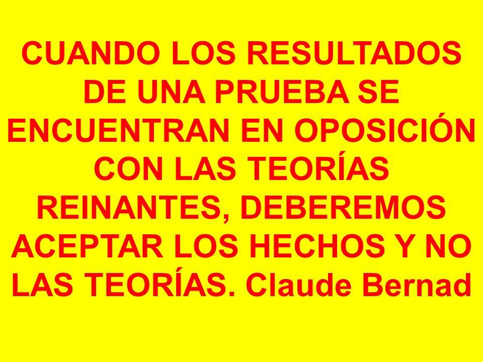 CUANDO LOS RESULTADOS DE UNA PRUEBA SE ENCUENTRAN EN OPOSICIÓN CON LAS TEORÍAS REINANTES, DEBEREMOS ACEPTAR LOS HECHOS Y NO LAS TEORÍAS. Claude Bernad