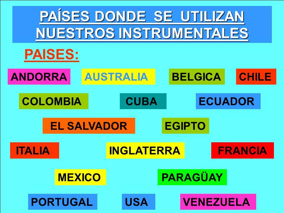 PAISES: BELGICA ITALIAINGLATERRA PORTUGAL ANDORRA COLOMBIA CHILE ECUADOR MEXICO VENEZUELAUSA EGIPTO PAÍSES DONDE SE UTILIZAN NUESTROS INSTRUMENTALES C