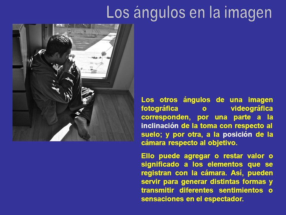 Los otros ángulos de una imagen fotográfica o videográfica corresponden, por una parte a la inclinación de la toma con respecto al suelo; y por otra, a la posición de la cámara respecto al objetivo.