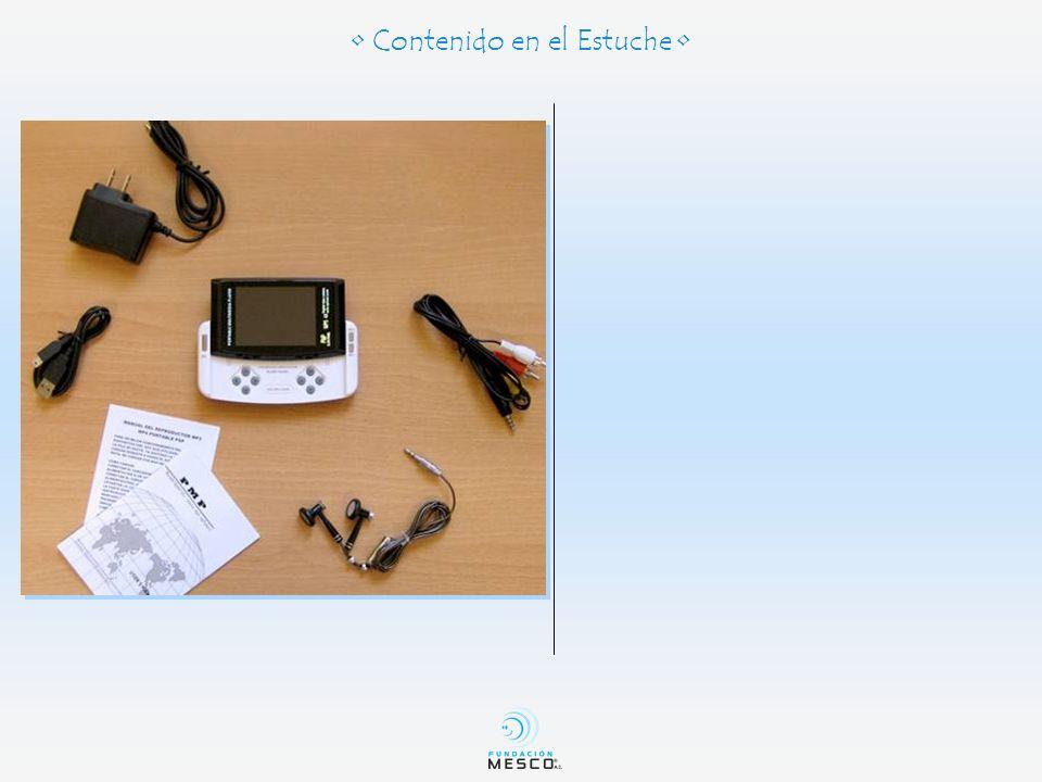 10- Entrada de RCA 11- Salida de audífonos 12- Luz indicadora de encendido o cargando 13- Botón encender / apagar 14- Botón aceptar (cuando el PSP esta cerrado) 15- Reset 16- Botón de candado 17- Cámara fotográfica 18- Bocina Especificaciones 17 1- Botón de regreso (ESC) 2- Botones direccionales 3- Botones Multiples (A, B, X, Ok) 4- Botón de aceptar (OK) 5- Botón siguiente 6- Botón anterior 7- Entrada SD para tarjeta de memoria 8- Entrada de corriente 9- Entrada USB 1 32 56 7 8 111314 9 10 1516 18 4 12