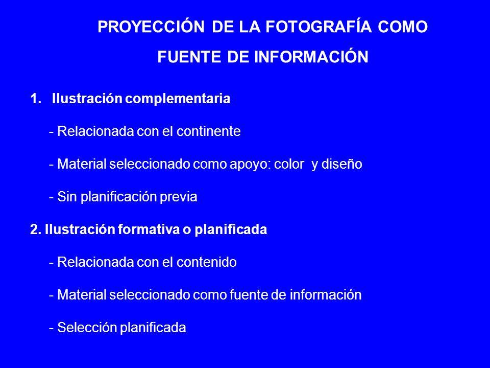 PROYECCIÓN DE LA FOTOGRAFÍA COMO FUENTE DE INFORMACIÓN 1. Ilustración complementaria - Relacionada con el continente - Material seleccionado como apoy