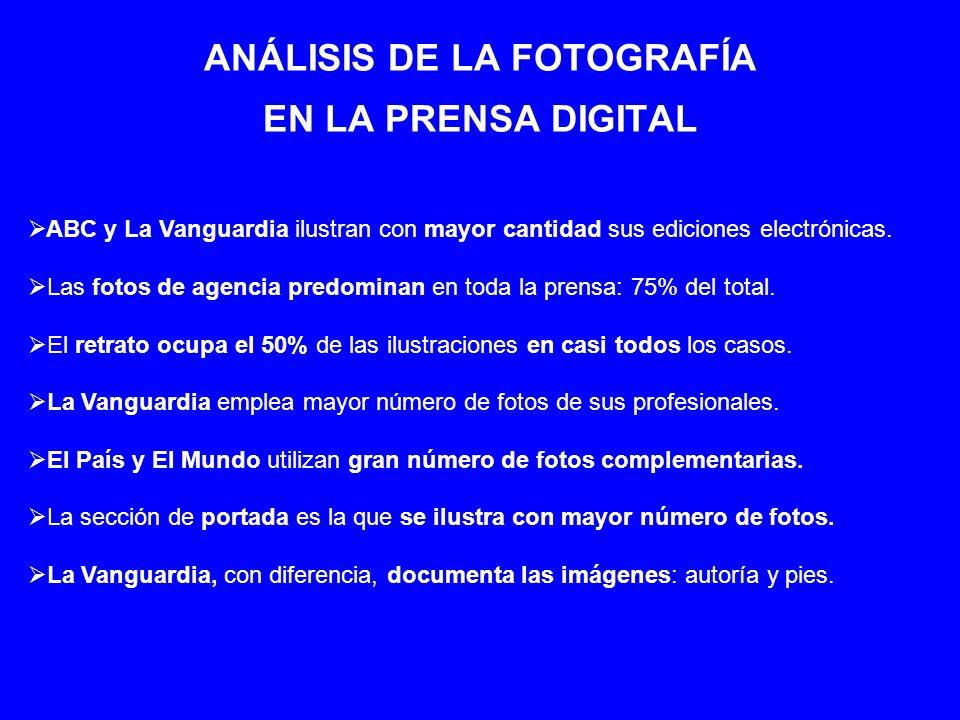 ANÁLISIS DE LA FOTOGRAFÍA EN LA PRENSA DIGITAL ABC y La Vanguardia ilustran con mayor cantidad sus ediciones electrónicas. Las fotos de agencia predom