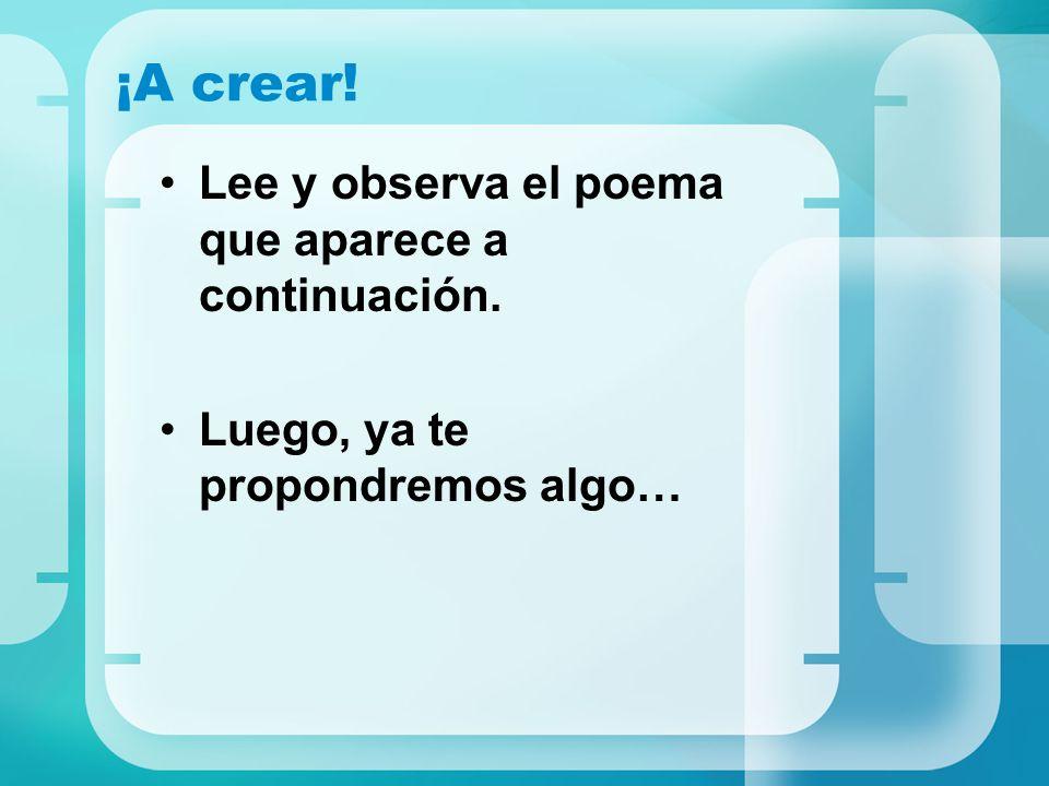 Enlaces consultados ICARITO < www.icarito.clwww.icarito.cl Figuras poéticas http://icarito.latercera.cl/enc_virtual/castella/poesia/temadest2.html Jugar con el lenguaje http://icarito.latercera.cl/enc_virtual/castella/poesia/temadest5.html Cómo se analiza un poema http://icarito.latercera.cl/enc_virtual/castella/poesia/temadest6.html El poema http://icarito.latercera.cl/enc_virtual/castella/lirico/lirico2.html Ley del acento final http://icarito.latercera.cl/enc_virtual/castella/lirico/lirico3.html La rima http://icarito.latercera.cl/enc_virtual/castella/lirico/lirico4.html La prosa poética http://icarito.latercera.cl/enc_virtual/castella/lirico/lirico6.html Un lenguaje especial http://icarito.latercera.cl/enc_virtual/castella/lirico/lirico7.html