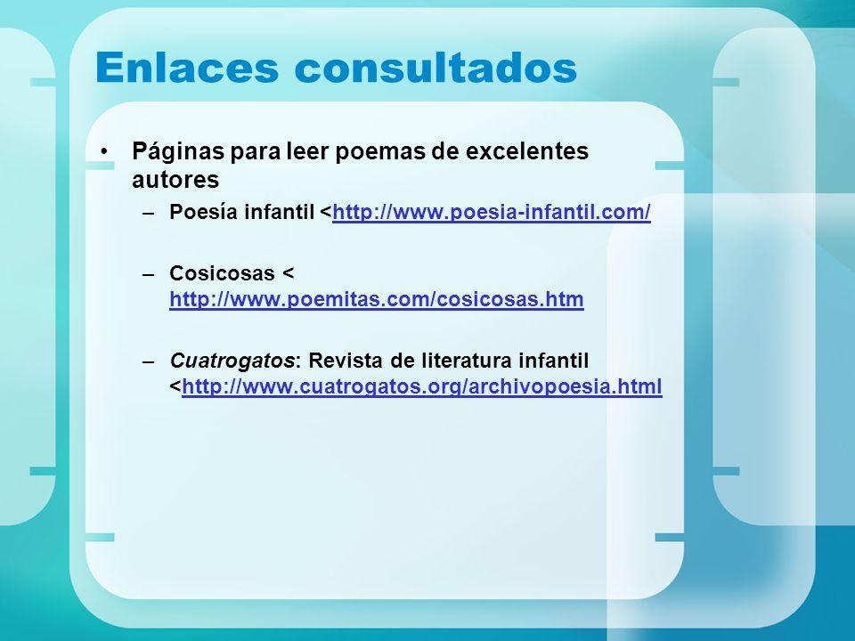 Enlaces consultados Páginas para leer poemas de excelentes autores –Poesía infantil <http://www.poesia-infantil.com/http://www.poesia-infantil.com/ –C