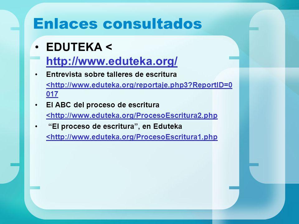Enlaces consultados EDUTEKA < http://www.eduteka.org/ http://www.eduteka.org/ Entrevista sobre talleres de escritura <http://www.eduteka.org/reportaje