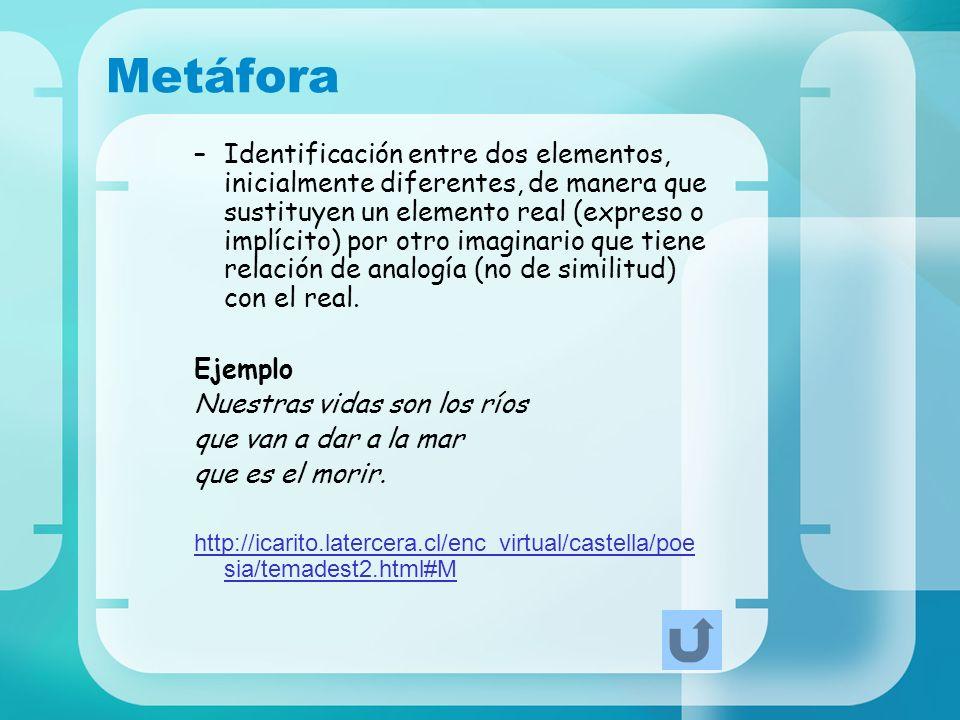 Metáfora –Identificación entre dos elementos, inicialmente diferentes, de manera que sustituyen un elemento real (expreso o implícito) por otro imagin