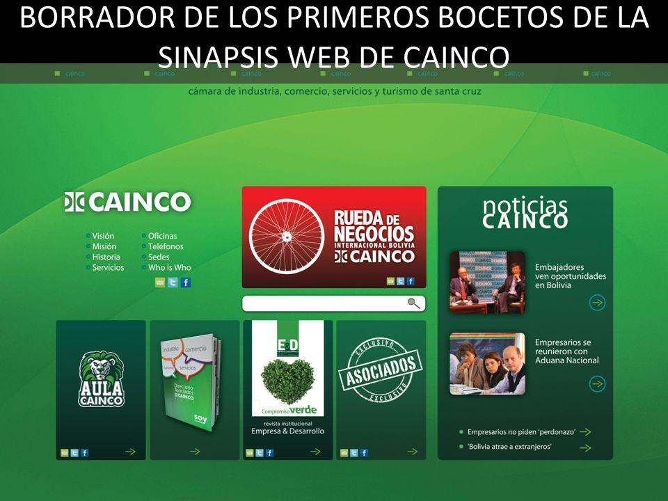 BORRADOR DE LOS PRIMEROS BOCETOS DE LA SINAPSIS WEB DE CAINCO