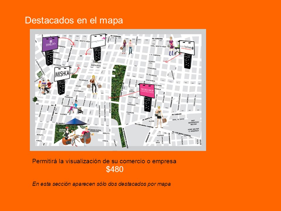 Destacados en el mapa Permitirá la visualización de su comercio o empresa $480 En esta sección aparecen sólo dos destacados por mapa