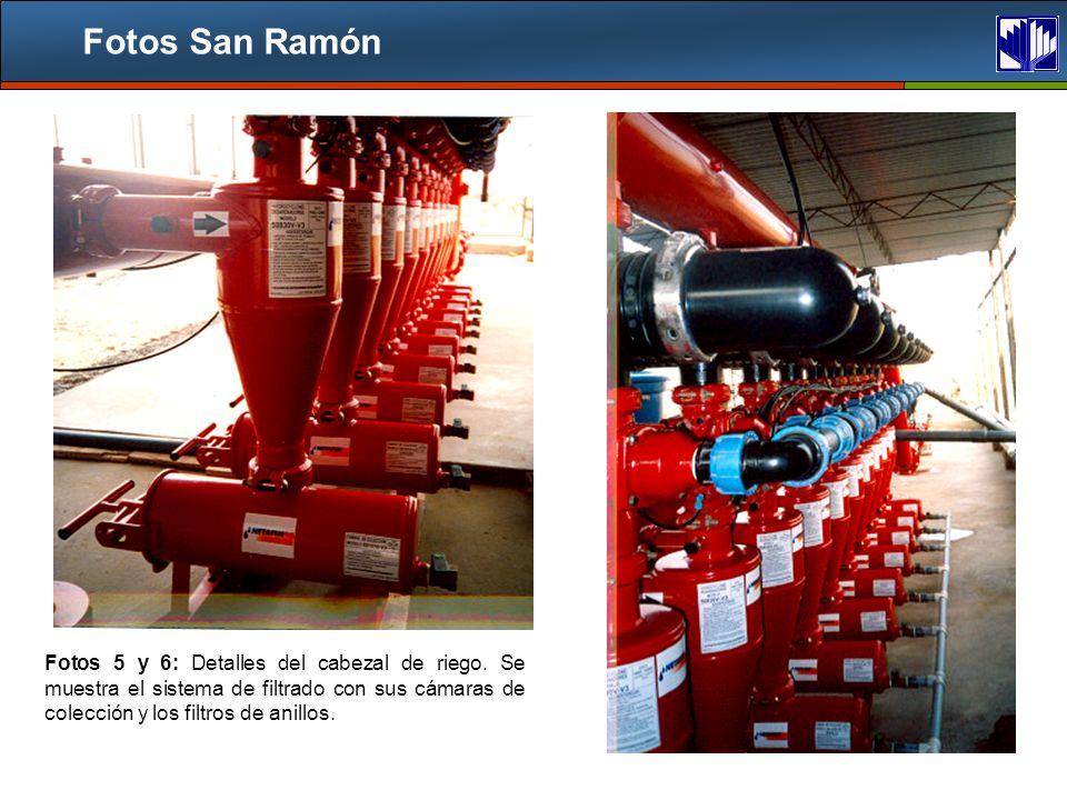 Fotos San Ramón Fotos 5 y 6: Detalles del cabezal de riego.