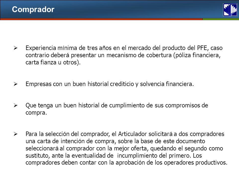 Comprador Experiencia m í nima de tres a ñ os en el mercado del producto del PFE, caso contrario deber á presentar un mecanismo de cobertura (p ó liza financiera, carta fianza u otros).