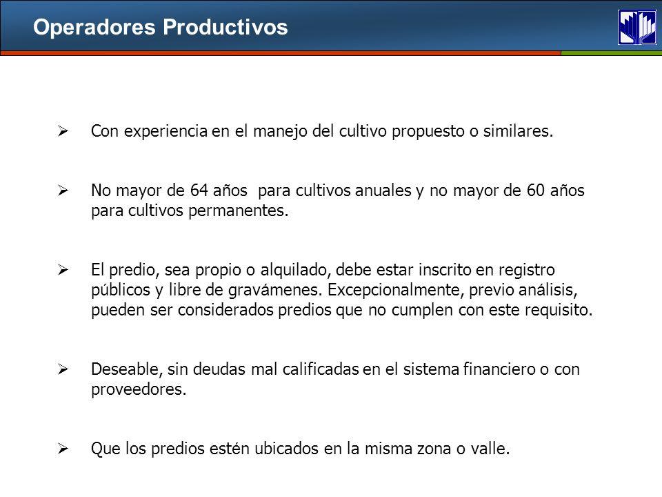 Operadores Productivos Con experiencia en el manejo del cultivo propuesto o similares.