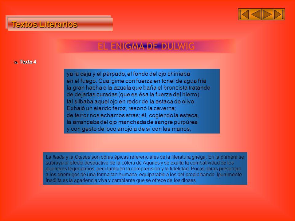Textos Literarios Textos Literarios EL ENIGMA DE DULWIG Texto 4 Texto 4 ya la ceja y el párpado; el fondo del ojo chirriaba en el fuego. Cual gime con