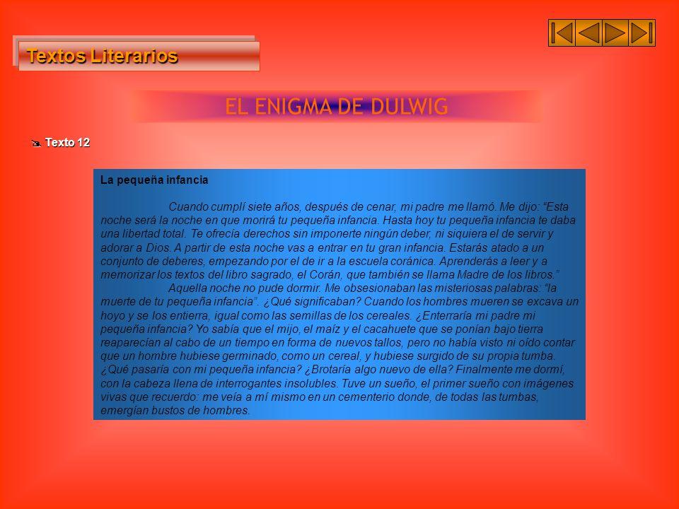 Textos Literarios Textos Literarios EL ENIGMA DE DULWIG Texto 12 Texto 12 La pequeña infancia Cuando cumplí siete años, después de cenar, mi padre me