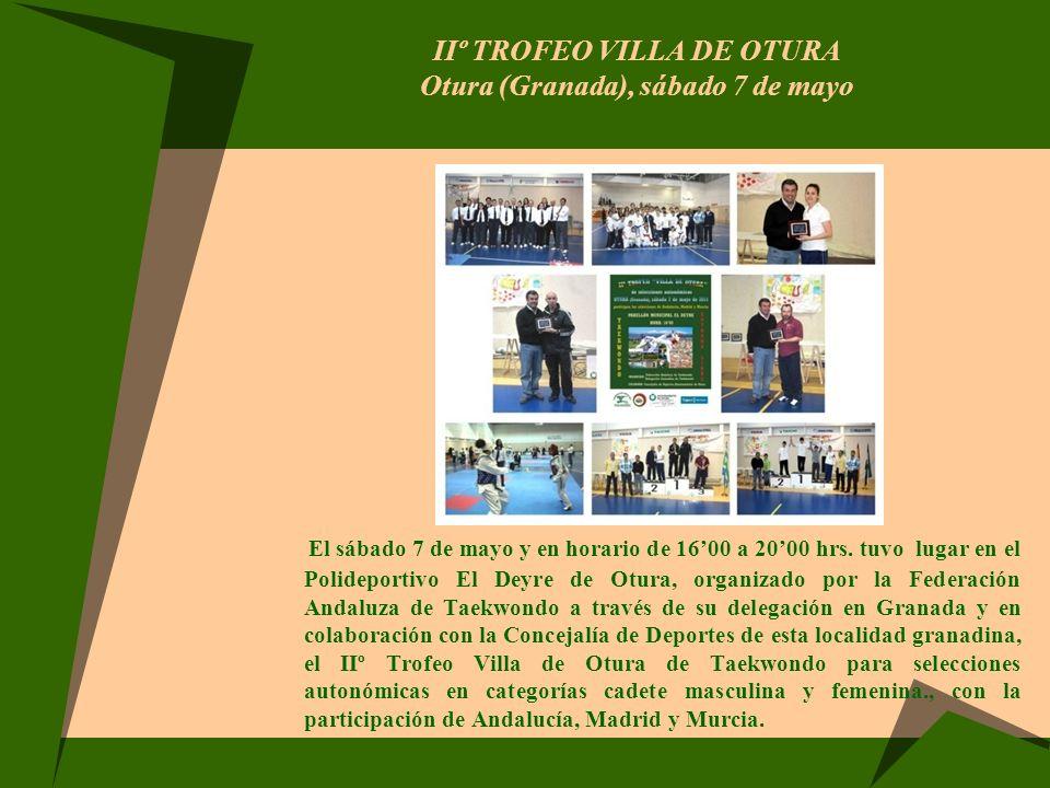 IIº TROFEO VILLA DE OTURA Otura (Granada), sábado 7 de mayo El sábado 7 de mayo y en horario de 1600 a 2000 hrs. tuvo lugar en el Polideportivo El Dey