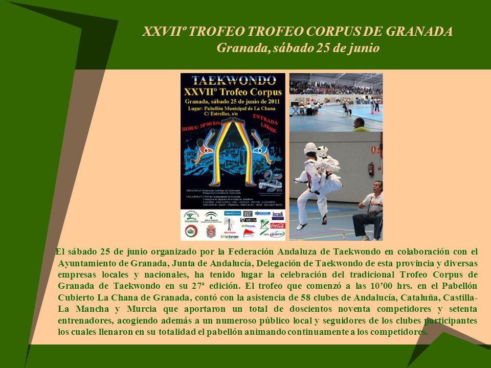 XXVIIº TROFEO TROFEO CORPUS DE GRANADA Granada, sábado 25 de junio El sábado 25 de junio organizado por la Federación Andaluza de Taekwondo en colabor