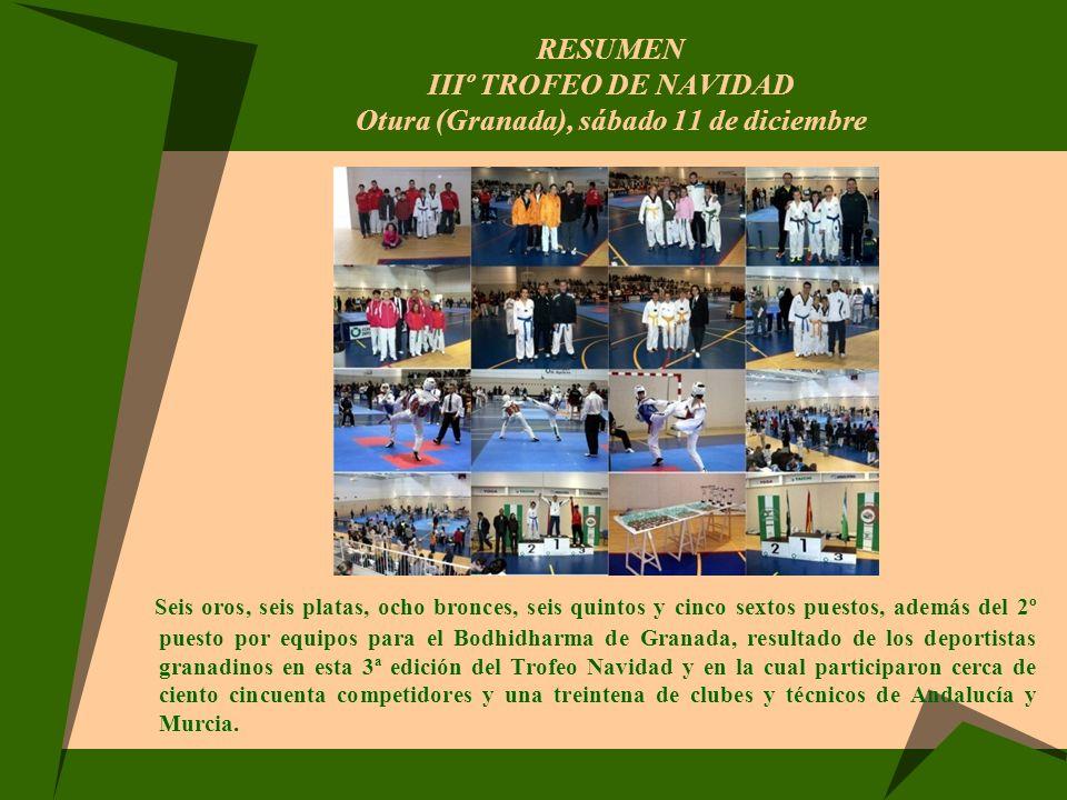 RESUMEN IIIº TROFEO DE NAVIDAD Otura (Granada), sábado 11 de diciembre Seis oros, seis platas, ocho bronces, seis quintos y cinco sextos puestos, adem