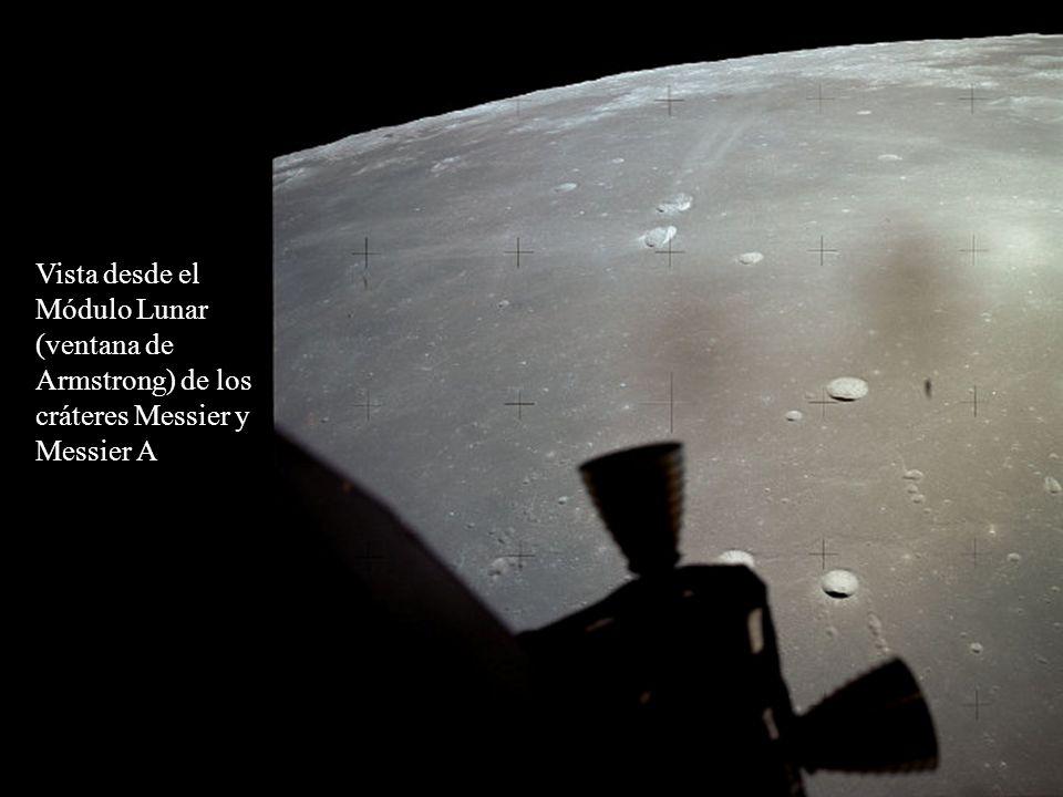 Vista desde el Módulo Lunar (ventana de Armstrong) de los cráteres Messier y Messier A