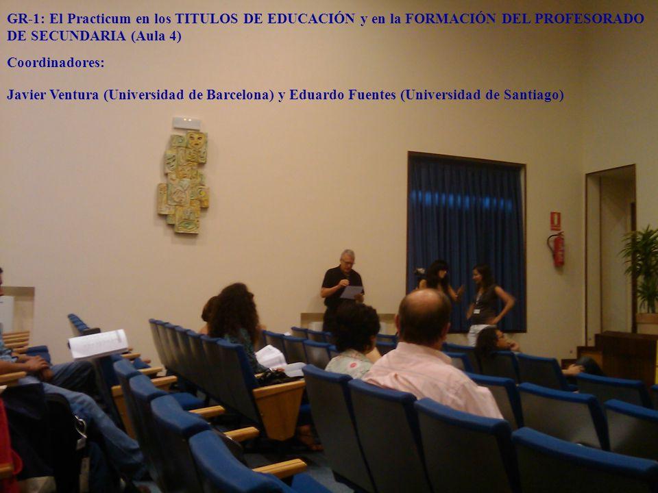 GR-1: El Practicum en los TITULOS DE EDUCACIÓN y en la FORMACIÓN DEL PROFESORADO DE SECUNDARIA (Aula 4) Coordinadores: Javier Ventura (Universidad de