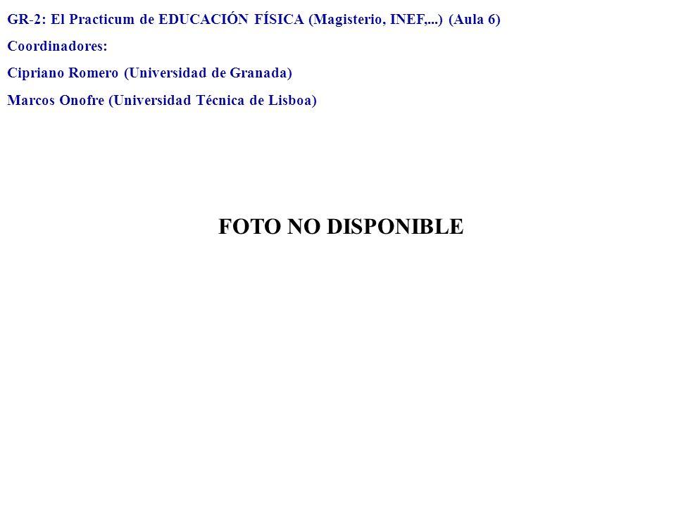 GR-2: El Practicum de EDUCACIÓN FÍSICA (Magisterio, INEF,...) (Aula 6) Coordinadores: Cipriano Romero (Universidad de Granada) Marcos Onofre (Universi
