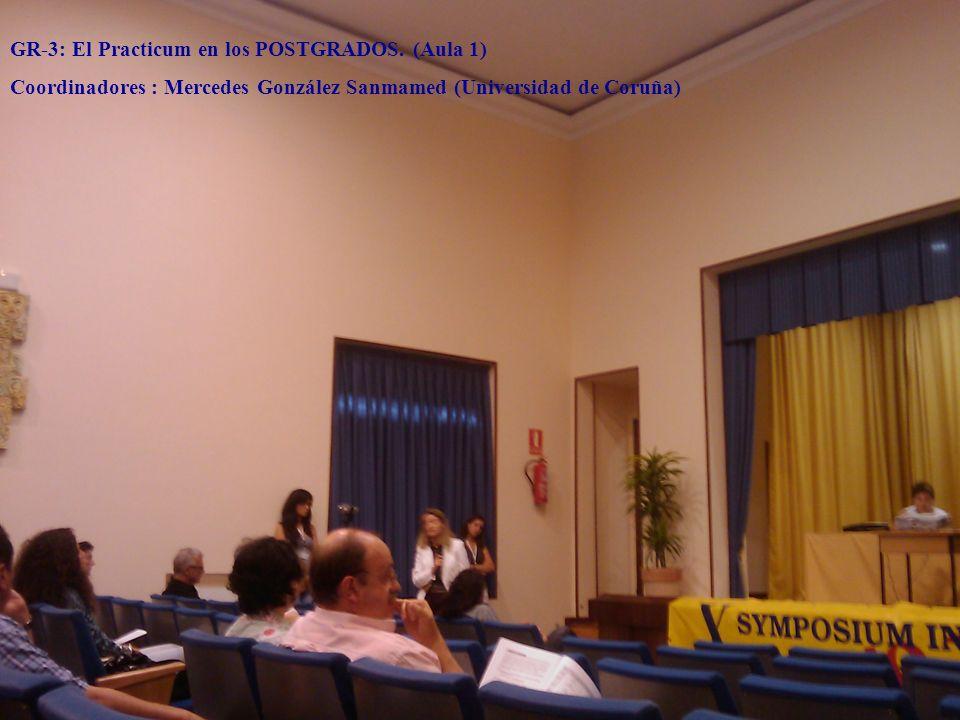 GR-3: El Practicum en los POSTGRADOS. (Aula 1) Coordinadores : Mercedes González Sanmamed (Universidad de Coruña)