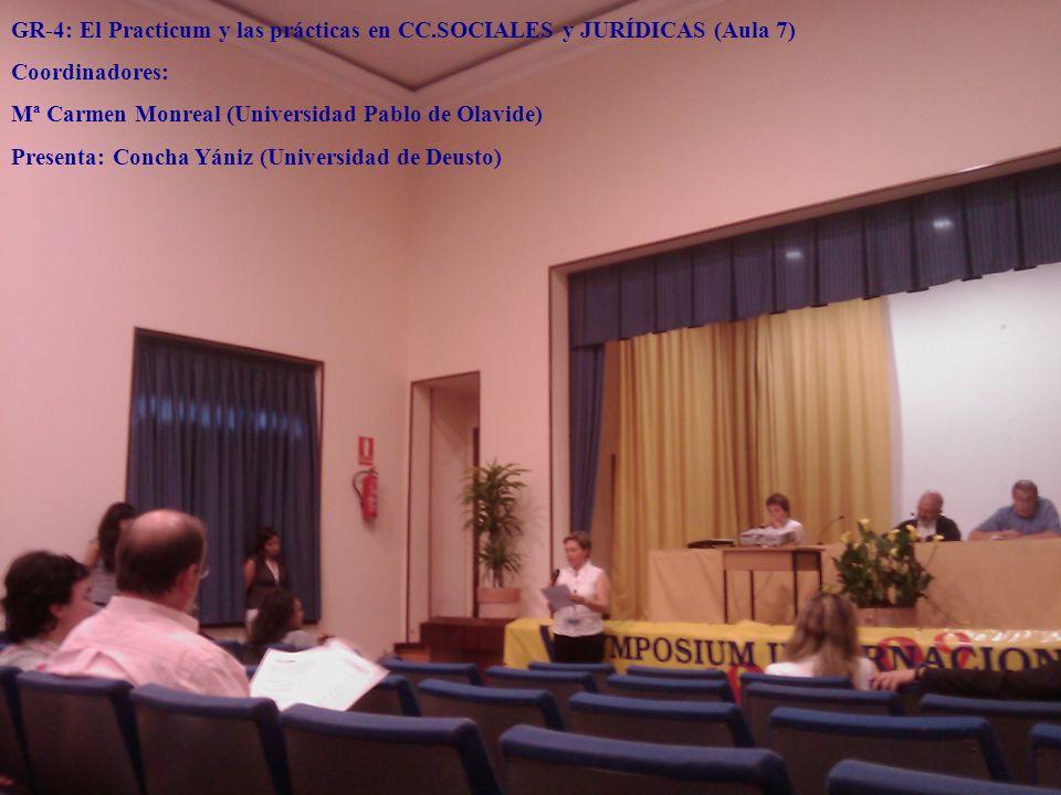 GR-4: El Practicum y las prácticas en CC.SOCIALES y JURÍDICAS (Aula 7) Coordinadores: Mª Carmen Monreal (Universidad Pablo de Olavide) Presenta: Conch