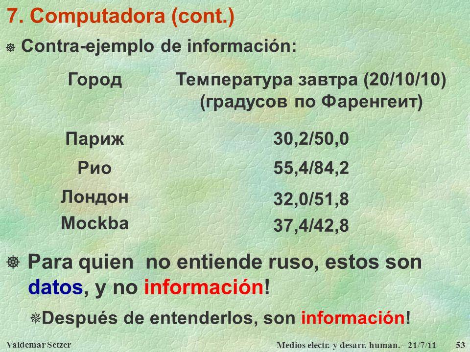 Valdemar Setzer Medios electr. y desarr. human. – 21/7/11 53 7. Computadora (cont.) Contra-ejemplo de información: ГородТемпература завтра (20/10/10)