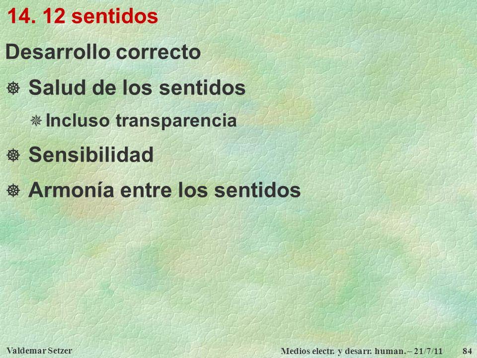 Valdemar Setzer Medios electr. y desarr. human. – 21/7/11 84 14. 12 sentidos Desarrollo correcto Salud de los sentidos Incluso transparencia Sensibili