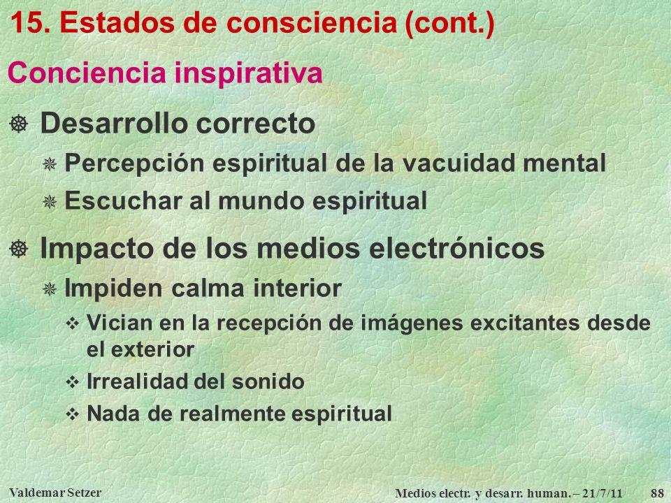 Valdemar Setzer Medios electr. y desarr. human. – 21/7/11 88 15. Estados de consciencia (cont.) Conciencia inspirativa Desarrollo correcto Percepción