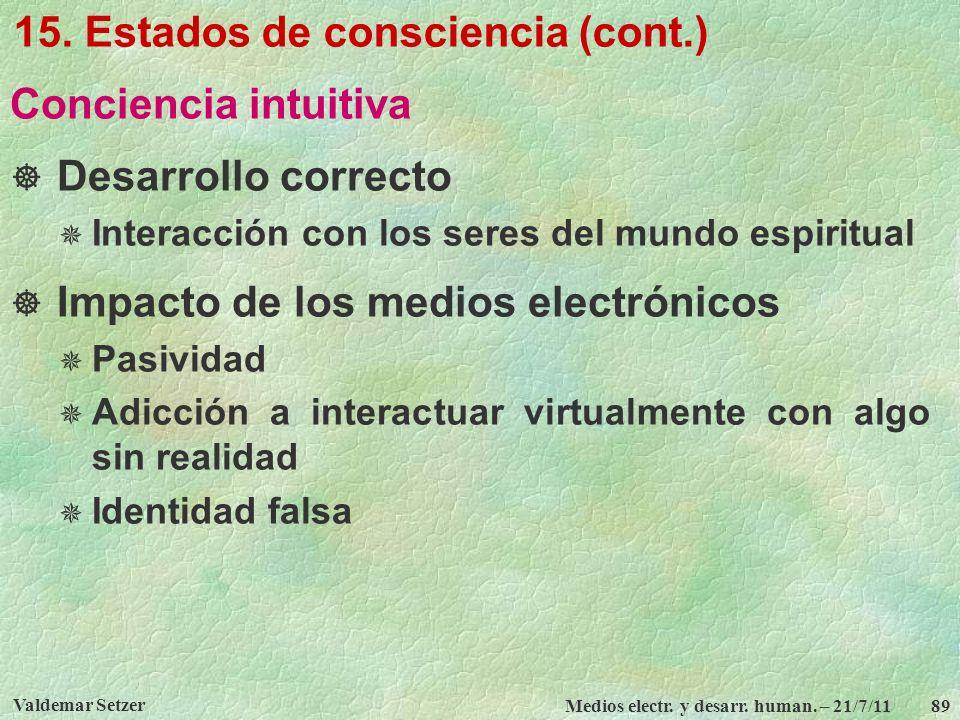 Valdemar Setzer Medios electr. y desarr. human. – 21/7/11 89 15. Estados de consciencia (cont.) Conciencia intuitiva Desarrollo correcto Interacción c