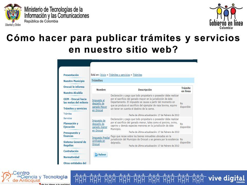 Cómo hacer para publicar trámites y servicios en nuestro sitio web